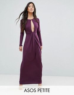 Платье Макси С Глубоким Вырезом Wine ASOS PETITE                                                                                                              Wine цвет