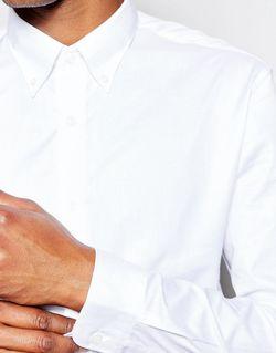 Рубашка Зауженного Кроя С Воротником На Пуговицах Selected Homme                                                                                                              белый цвет