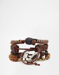Набор Коричневых Браслетов Из Кожи И Металла Asos                                                                                                              коричневый цвет