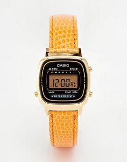 Цифровые Часы С Оранжевым Кожаным Ремешком La670wegl-4a2ef Casio                                                                                                              оранжевый цвет