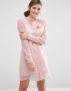Shirt Dress With Sheer Layer And Bow Fashion Union                                                                                                              None цвет