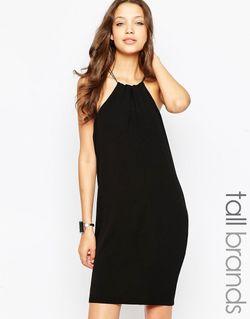 Платье Мини С Бретелью-Цепочкой Через Шею Tall Vero Moda                                                                                                              чёрный цвет