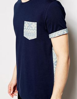 T-Shirt With Aztec Print Woven Pocket And Asos                                                                                                              синий цвет