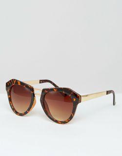 Солнцезащитные Очки В Оправе С Геометрическим Дизайном MISSGUIDED                                                                                                              коричневый цвет