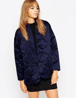 Стеганая Атласная Куртка Premium Темно-Синий Asos                                                                                                              синий цвет