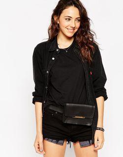 Asos Structured Leather Bum Bag With Metal ASOS Collection                                                                                                              чёрный цвет