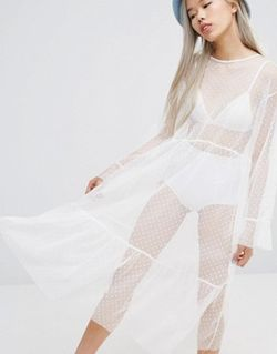 Stylenanda Spotted Mesh Maxi Dress Белый STYLE NANDA                                                                                                              None цвет