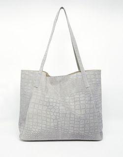Замшевая Сумка-Шоппер С Отделкой Под Кожу Крокодила Asos                                                                                                              серый цвет