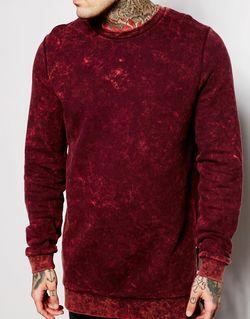 Удлиненный Свитшот С Эффектом Кислотной Стирки И Asos                                                                                                              Burgundy цвет