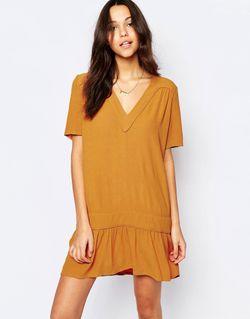 Платье С Заниженной Талией И Vобразным Вырезом Ba&Sh                                                                                                              Шафран цвет