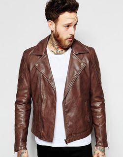 Коричневая Байкерская Куртка Из Искусственной Кожи Коричневый Asos                                                                                                              коричневый цвет
