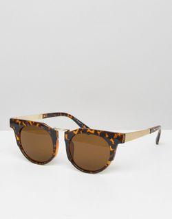 Round Sunglasses With Chunky Frame Коричневый AJ Morgan                                                                                                              None цвет