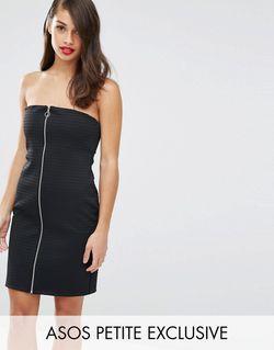 Облегающее Платье-Бандо В Рубчик С Молнией Спереди ASOS PETITE                                                                                                              черный цвет