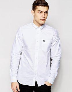 Белая Оксфордская Рубашка Зауженного Кроя Белый Fred Perry                                                                                                              белый цвет