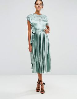 Lace Top Satin Pleated Midi Dress Мятный Asos                                                                                                              None цвет