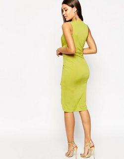 Платье Миди С Глубоким Вырезом Лайм Asos                                                                                                              Лайм цвет