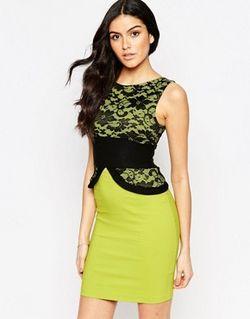 Платье-Футляр С Кружевным Топом Ronnie Лайм Vesper                                                                                                              Лайм цвет