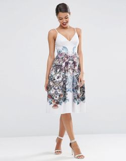 Платье Для Выпускного Длиной Миди С Цветочным Asos                                                                                                              многоцветный цвет