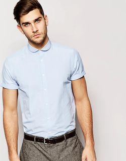 Строгая Рубашка С Короткими Рукавами И Срезанным Asos                                                                                                              синий цвет
