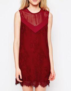 Цельнокройное Платье С Кружевной Отделкой Rogers Jovonna                                                                                                              красный цвет