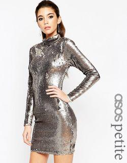 Платье Мини С Высокой Горловиной И Пайетками ASOS PETITE                                                                                                              Gun Metal цвет