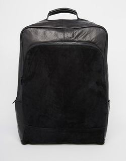 Leather Backpack In Black With Suede Panel Asos                                                                                                              чёрный цвет