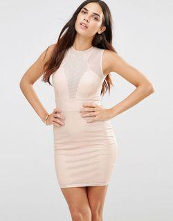 Платье С Вырезным Узором И Сетчатыми Вставками TFNC                                                                                                              розовый цвет