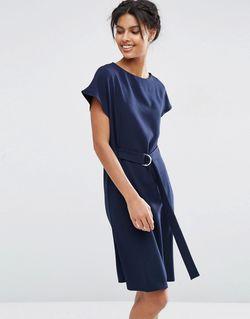 Платье Миди С Поясом И Dобразной Пряжкой Asos                                                                                                              синий цвет