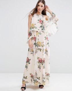 Платье Макси С Цветочным Принтом И Открытыми Asos                                                                                                              многоцветный цвет
