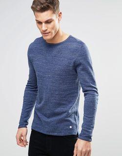Меланжевый Трикотажный Джемпер Темно-Синий Esprit                                                                                                              синий цвет