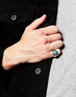 Кольцо На Мизинец С Голубым Камнем Asos                                                                                                              Серебряный цвет