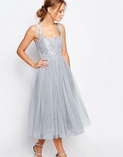Платье Миди Из Тюля С Кружевом Серебристо-Серый Little Mistress                                                                                                              серый цвет