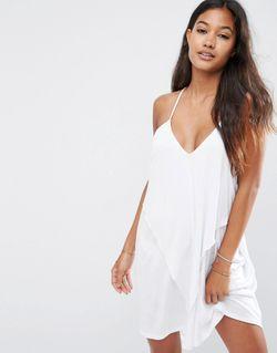 Трикотажное Пляжное Платье С Драпировкой Белый Asos                                                                                                              белый цвет