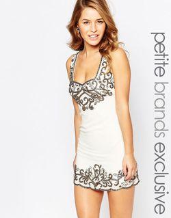 Цельнокройное Платье Мини С Отделкой Кремовый Maya Petite                                                                                                              Кремовый цвет