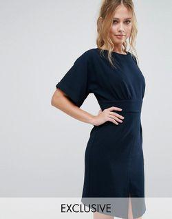 Платье Миди С Завязкой Сзади И Разрезом Closet London                                                                                                              синий цвет