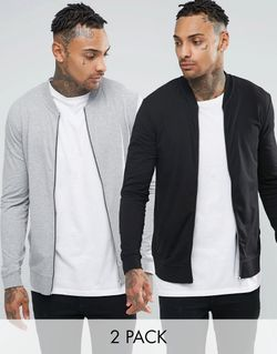 Lightweight Muscle Jersey Bomber 2 Pack Black/ Asos                                                                                                              None цвет