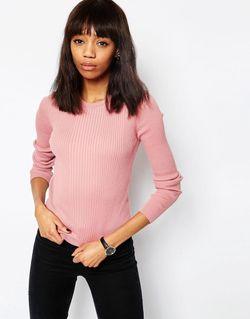 Джемпер В Рубчик С Круглым Вырезом Розовый Asos                                                                                                              розовый цвет