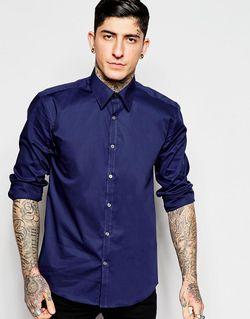 Рубашка Зауженного Кроя Из Эластичного Поплина Темно-Синий Lindbergh                                                                                                              синий цвет