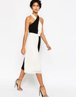 Плиссированное Платье Миди С Перекрестной Отделкой Черно-Белый Asos                                                                                                              белый цвет