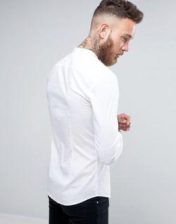 Супероблегающая Рубашка С Воротником На Пуговицах Asos                                                                                                              белый цвет