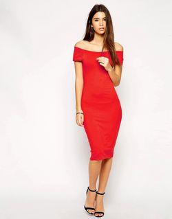 Облегающее Платье Миди Эксклюзивно Для ASOS PETITE                                                                                                              красный цвет