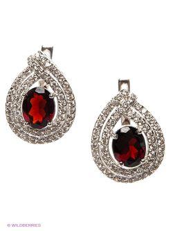 Ювелирные Серьги Art Silver                                                                                                              Бордовый, Серебристый цвет