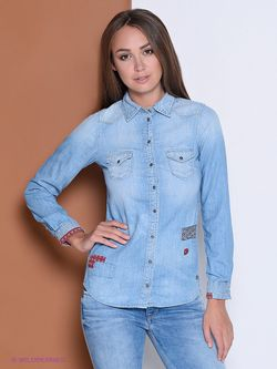 Рубашки Pepe Jeans London                                                                                                              голубой цвет