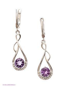 Ювелирные Серьги Silver Wings                                                                                                              фиолетовый цвет