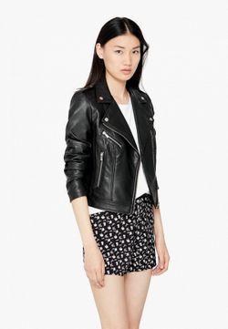 Куртка Кожаная Mango                                                                                                              чёрный цвет