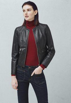Куртка Кожаная Mango                                                                                                              черный цвет