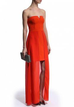 Платье-Бандо С Шифоновым Шлейфом River Island                                                                                                              красный цвет