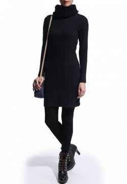 Трикотажное Платье С Объемным Воротником River Island                                                                                                              синий цвет