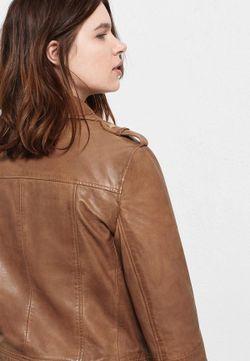 Куртка Кожаная Violeta by Mango                                                                                                              коричневый цвет