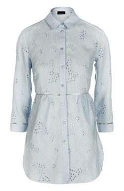 Кружевная Льняная Блуза ERMANNO BY ERMANNO SCERVINO                                                                                                              голубой цвет